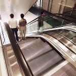 brushed stainless steel escalator surrounds