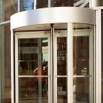brushed steel revolving doors