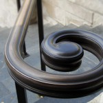 custom metal curved handrail detail