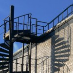 industrial walkway platform and spiral steps