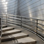 metal walls, polished steel handrails
