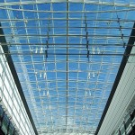 steel and glass atrium shopping center